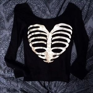 H&M XS Skeleton Spooky Spoopy Crop Top Shirt